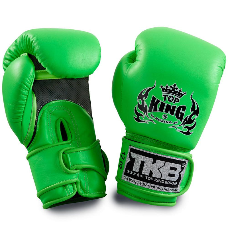 "Top King Neon Green ""Double Lock"" Boxing Gloves [Air Version]"