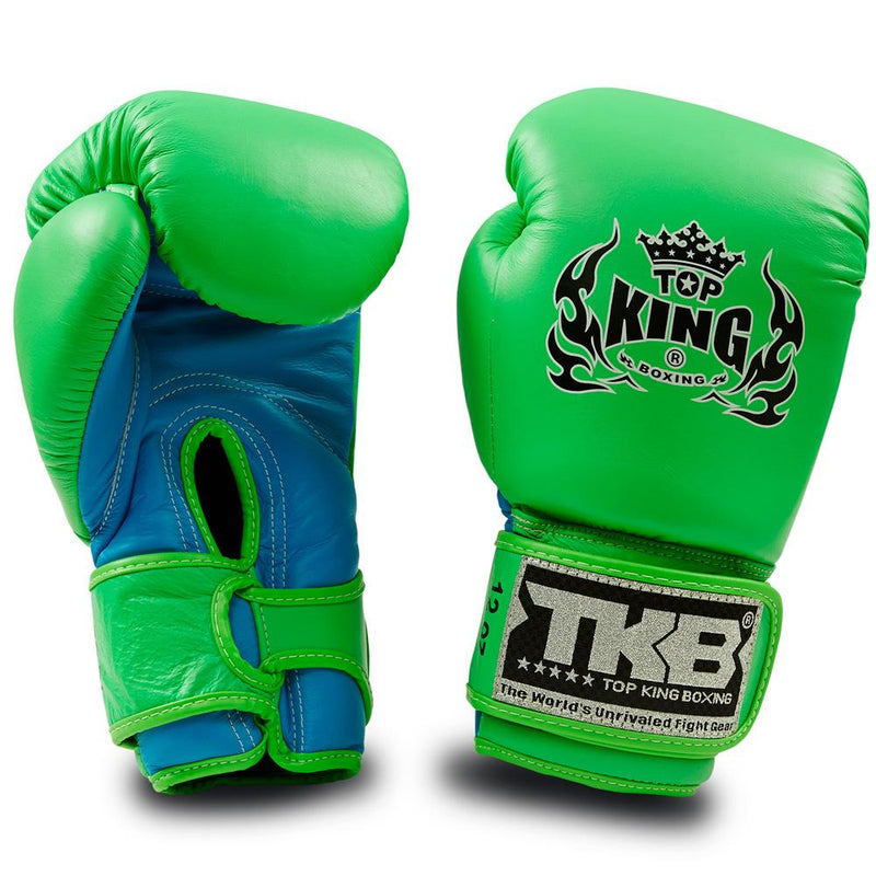 "Top King Neon Green / Blue ""Double Lock"" Boxing Gloves"