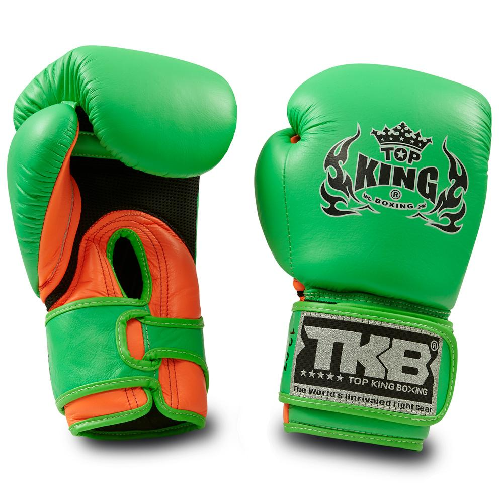 "Top King Neon Green / Orange ""Double Lock"" Boxing Gloves [Air Version]"