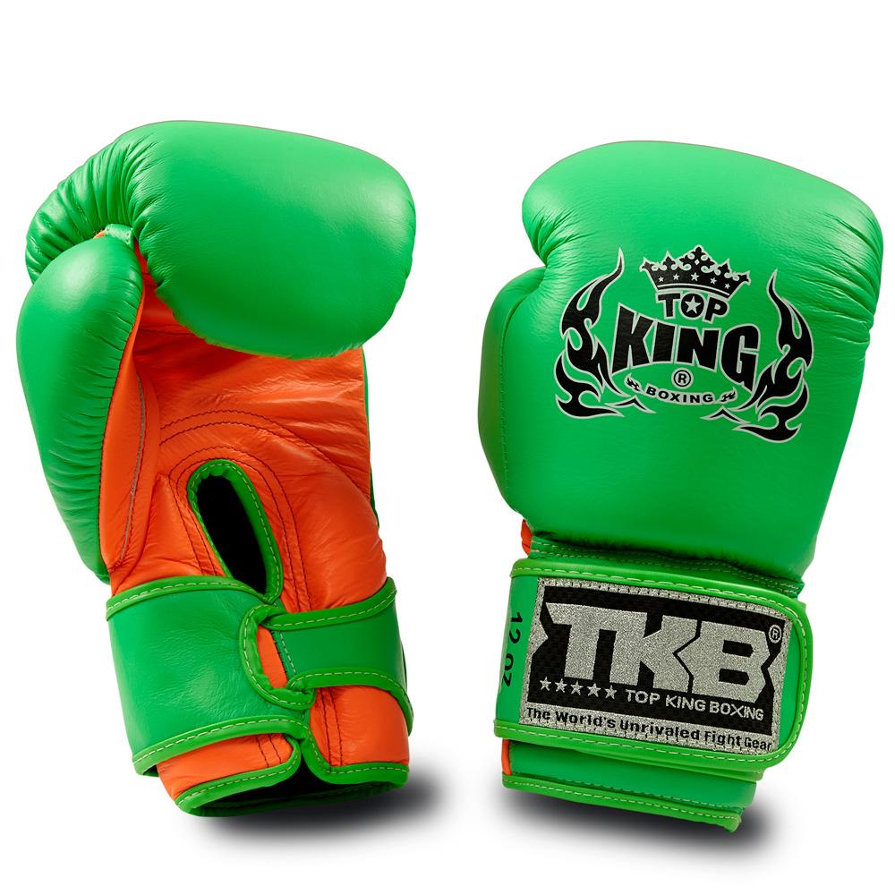 "Top King Neon Green / Orange ""Double Lock"" Boxing Gloves"