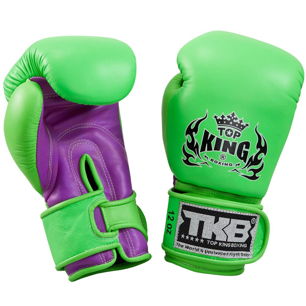 "Top King Neon Green / Purple ""Double Lock"" Boxing Gloves"