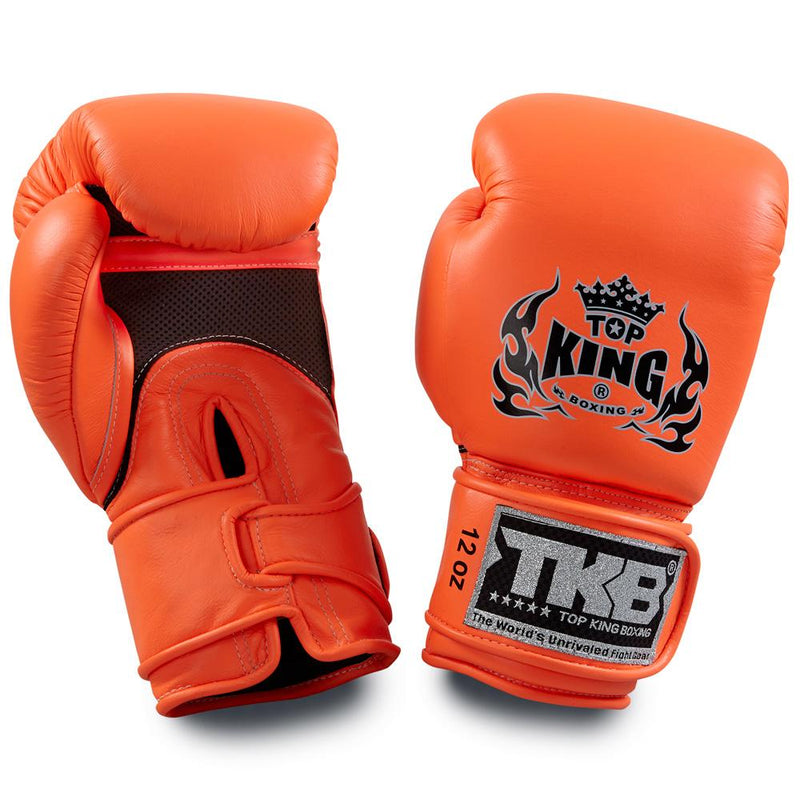 "Top King Neon Orange ""Double Lock"" Boxing Gloves [Air Version]"