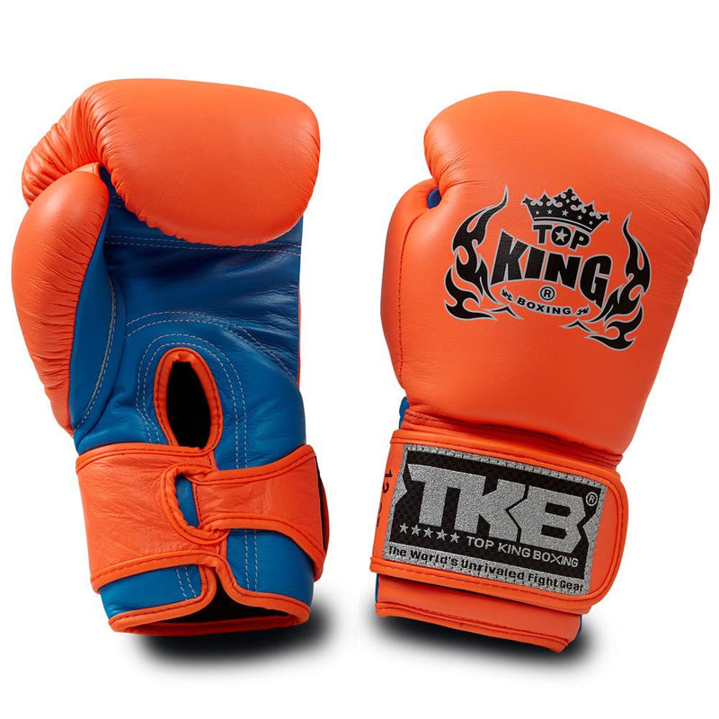 "Top King Neon Orange / Blue ""Double Lock"" Boxing Gloves"