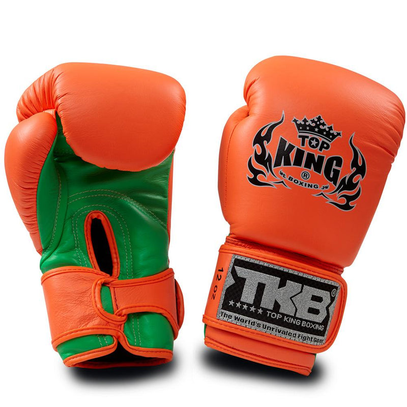 "Top King Neon Orange / Green ""Double Lock"" Boxing Gloves"