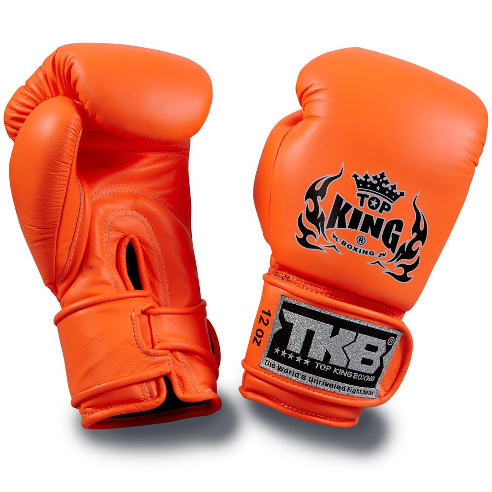 "Top King Neon Orange ""Double Lock"" Boxing Gloves"