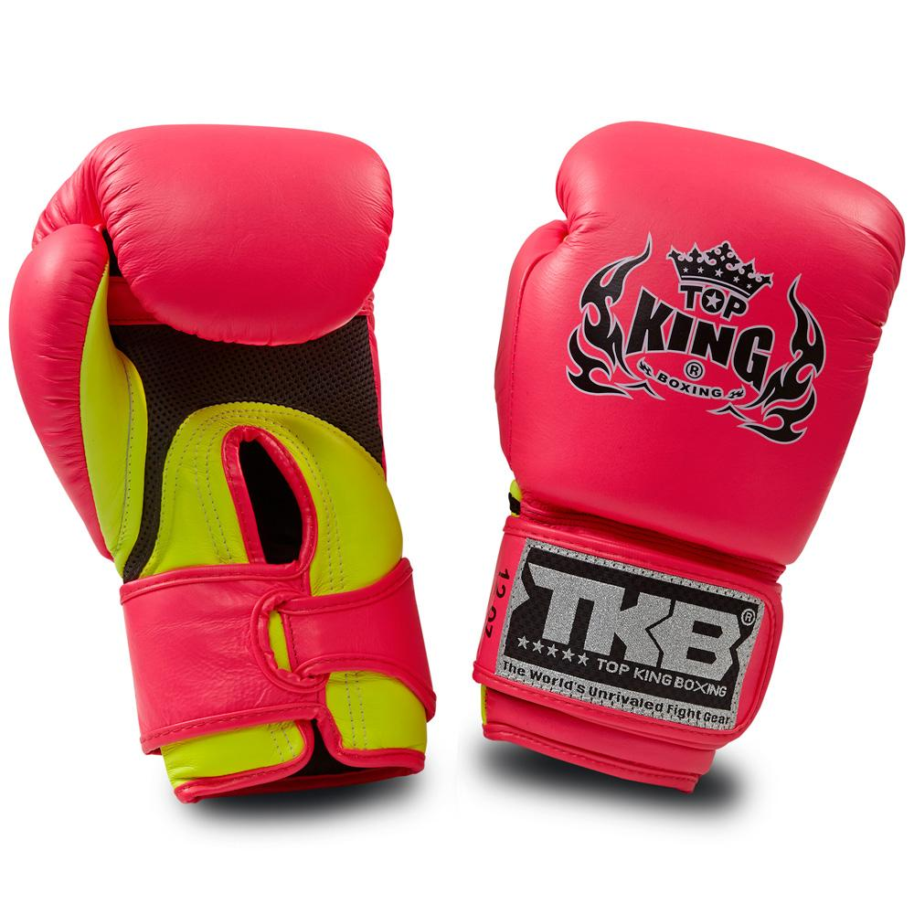 "Top King Neon Pink / Yellow ""Double Lock"" Boxing Gloves [Air Version]"