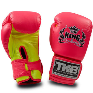 "Top King Neon Pink / Yellow ""Double Lock"" Boxing Gloves"