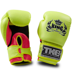 "Top King Neon Yellow / Pink ""Double Lock"" Boxing Gloves [Air Version]"