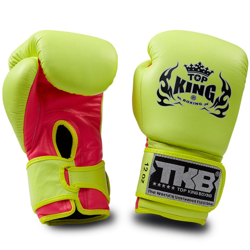 "Top King Neon Yellow / Pink ""Double Lock"" Boxing Gloves"