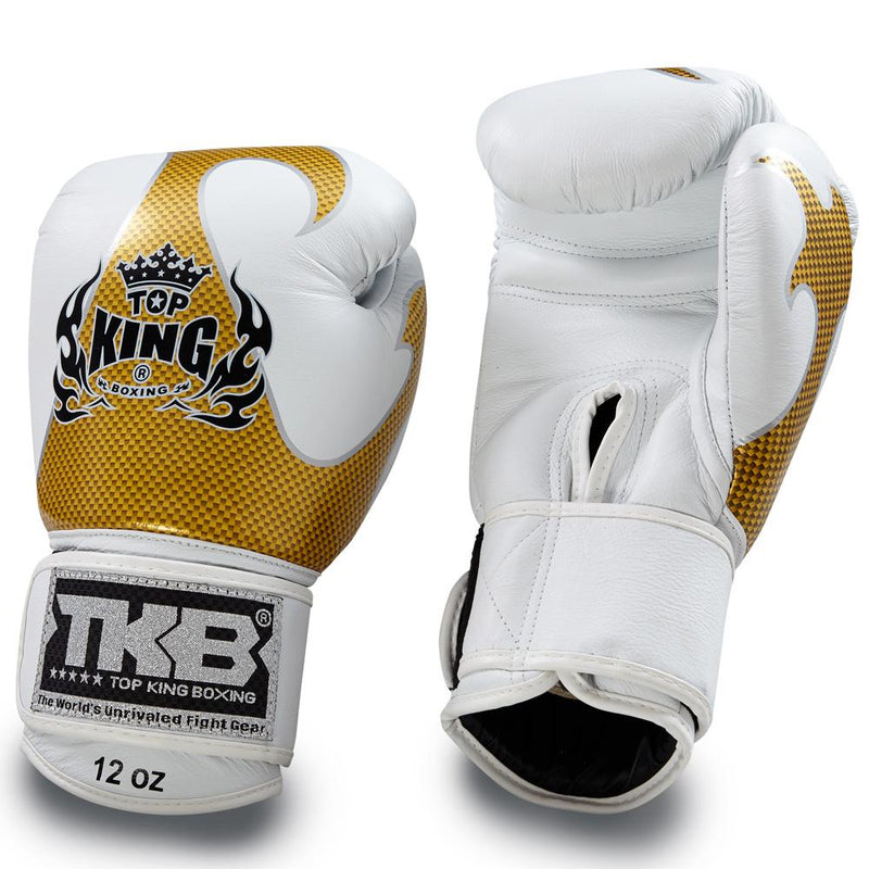 "Top King White / Gold ""Empower"" Boxing Gloves"