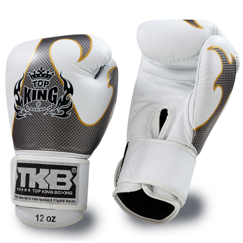 "Top King White / Silver ""Empower"" Boxing Gloves"