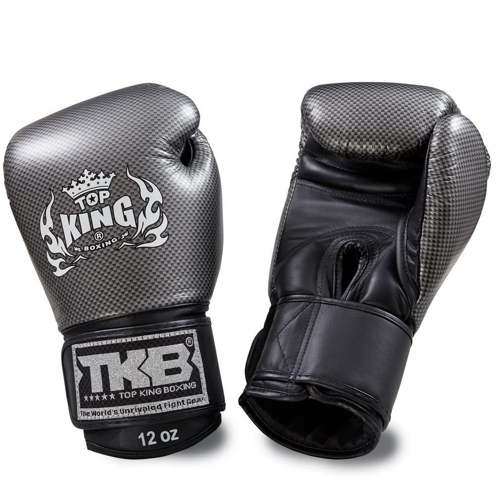 "Top King Silver / Black ""Empower"" Boxing Gloves"