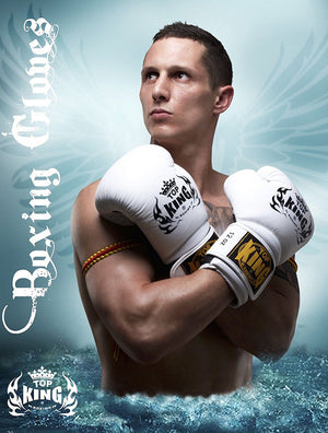 "Top King White ""Super Air"" Boxing Gloves"