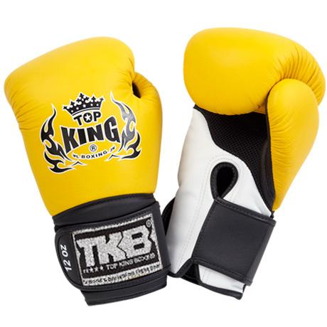"Top King Yellow / White with Black Cuff ""Super Air"" Boxing Gloves"