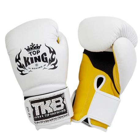 "Top King White / Yellow ""Super Air"" Boxing Gloves"