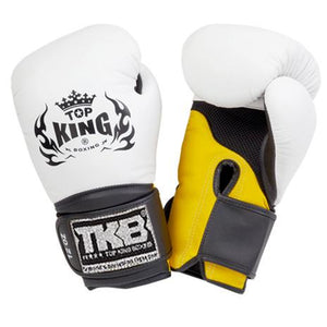 "Top King White / Yellow with Black Cuff ""Super Air"" Boxing Gloves"