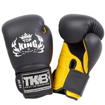 "Top King Black / Yellow ""Super Air"" Boxing Gloves"