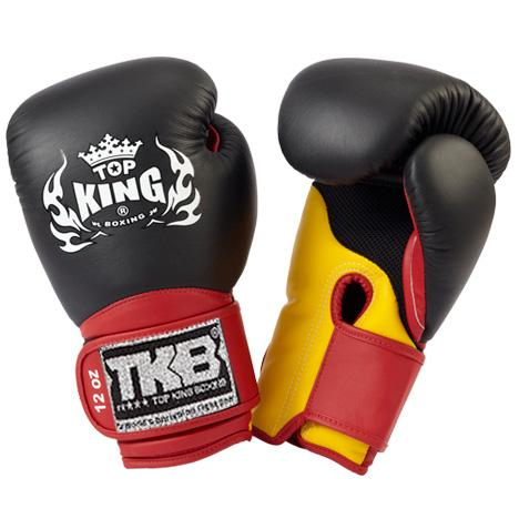 "Top King Black / Yellow with Red Cuff ""Super Air"" Boxing Gloves"