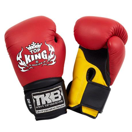 "Top King Red / Yellow with Black Cuff ""Super Air"" Boxing Gloves"