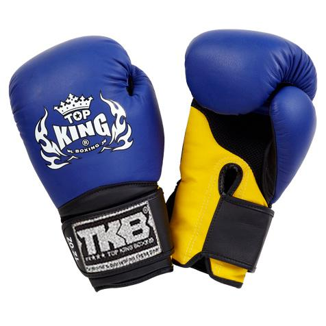 "Top King Blue / Yellow with Black Cuff ""Super Air"" Boxing Gloves"