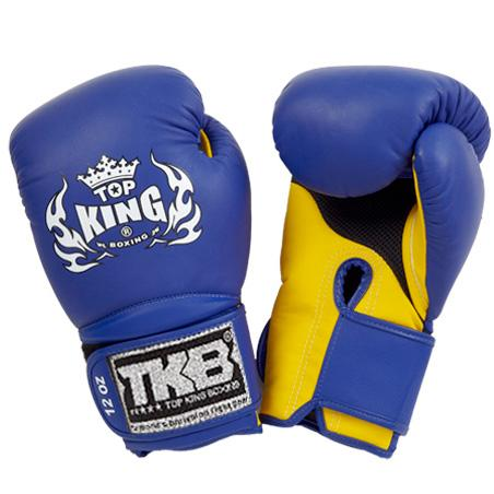 "Top King Blue / Yellow ""Super Air"" Boxing Gloves"