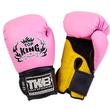 "Top King Pink / Yellow with Black Cuff ""Super Air"" Boxing Gloves"