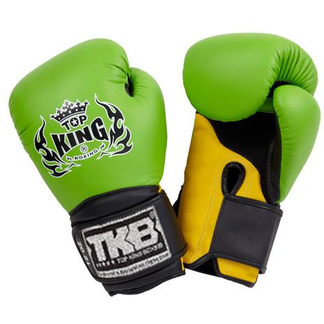 "Top King Green / Yellow with Black Cuff ""Super Air"" Boxing Gloves"