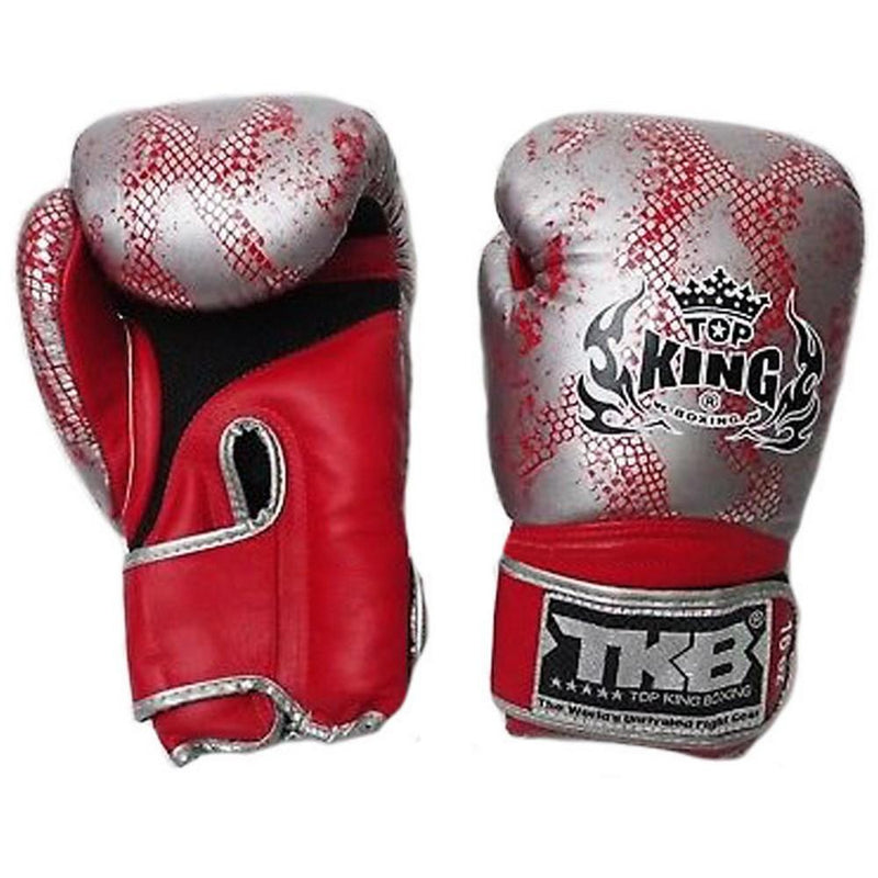 "Top King Silver / Red ""Snake"" Boxing Gloves"