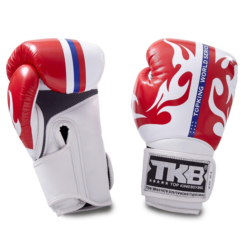 "Top King White / Red ""World Series"" Boxing Gloves"