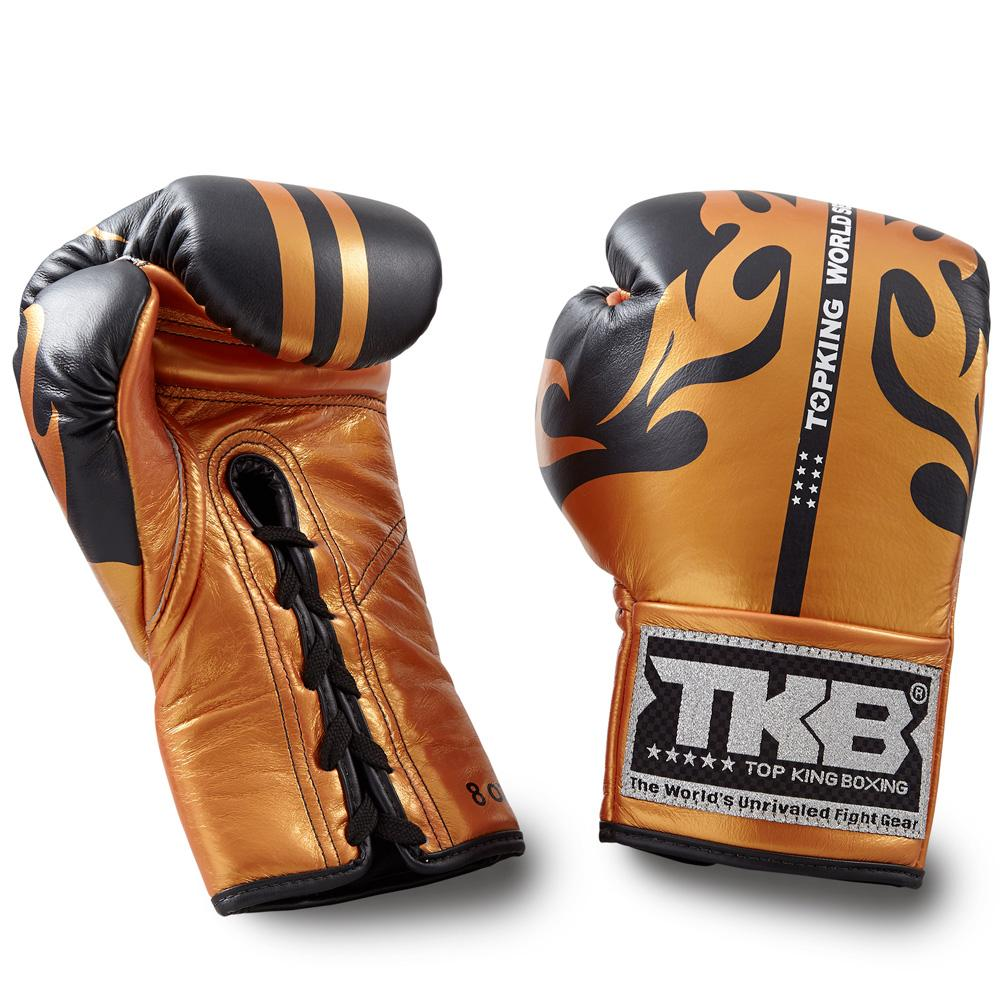 "Top King Black / Gold ""World Series"" Boxing Gloves - Lace-Up"