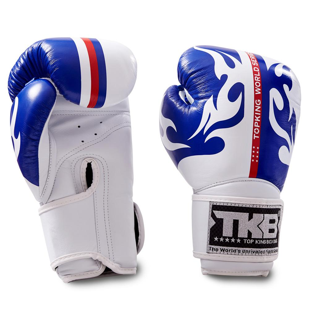 "Top King White / Blue ""World Series"" Boxing Gloves"