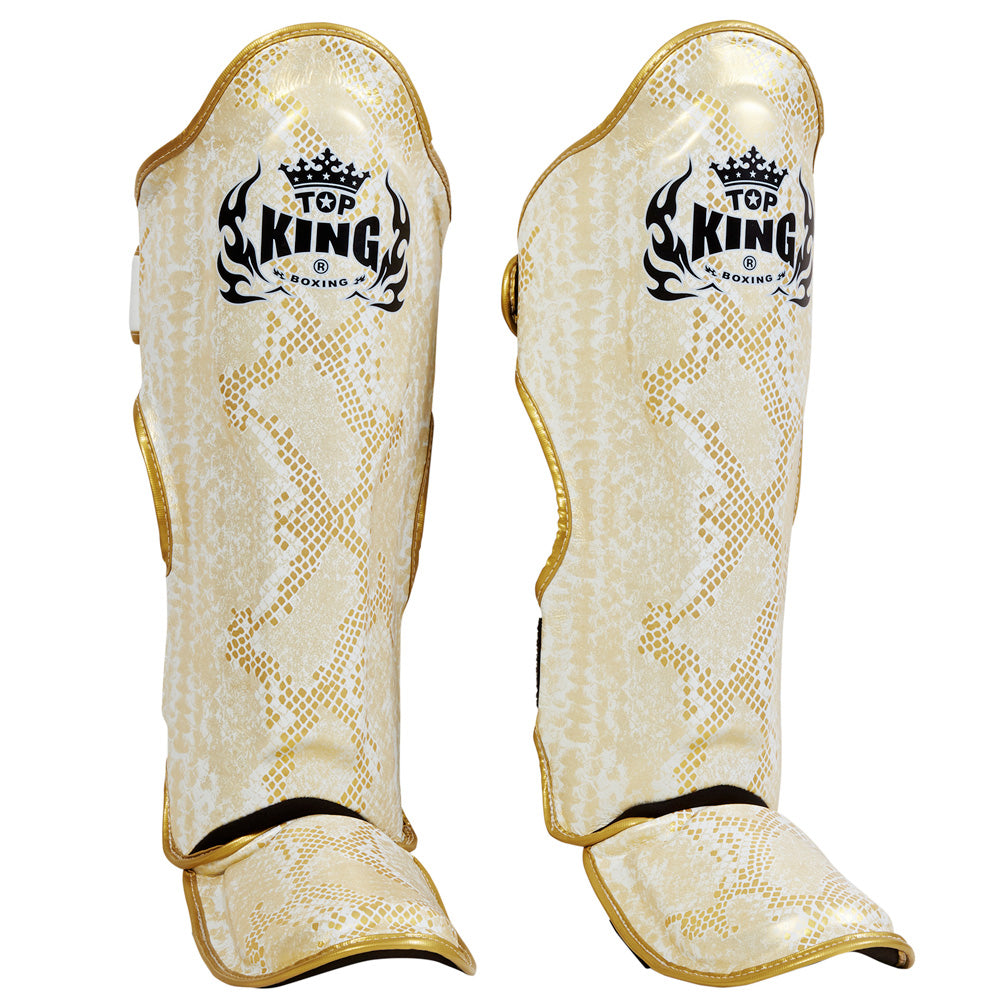 "Top King Gold / White ""Snake"" Shin Guards"
