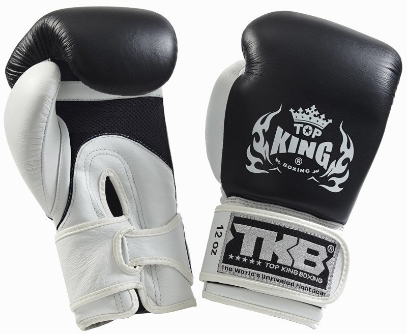 "Boxing Gloves - Top King Black / White ""Double Lock"" Boxing Gloves"