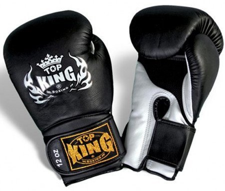 "Boxing Gloves - Top King Black / White ""Super Air"" Boxing Gloves"