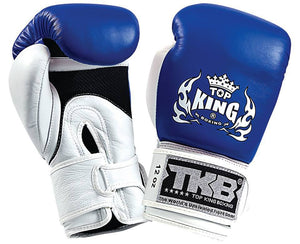 "Boxing Gloves - Top King Blue / White ""Double Lock"" Boxing Gloves"