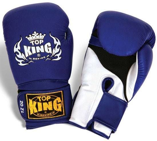 "Boxing Gloves - Top King Blue / White ""Super Air"" Boxing Gloves"