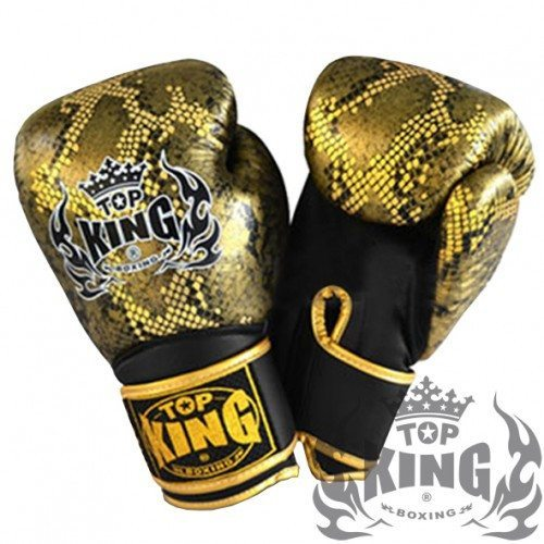 "Boxing Gloves - Top King Gold / Black ""Snake"" Boxing Gloves"