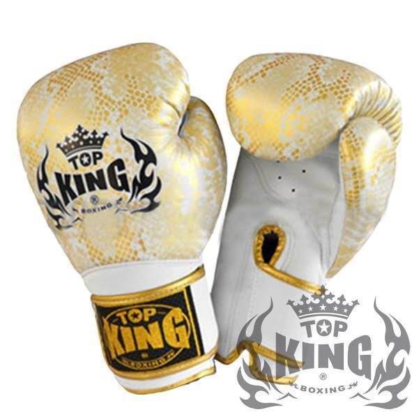 "Boxing Gloves - Top King Gold / White ""Snake"" Boxing Gloves"