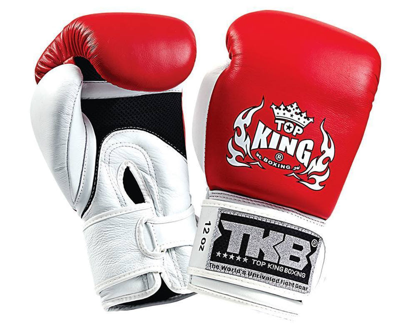 "Boxing Gloves - Top King Red / White ""Double Lock"" Boxing Gloves"
