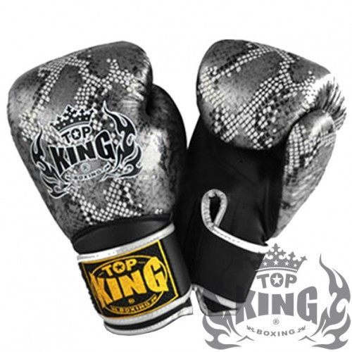 "Boxing Gloves - Top King Silver / Black ""Snake"" Boxing Gloves"