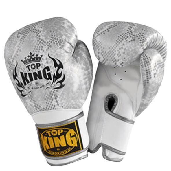 "Boxing Gloves - Top King Silver / White ""Snake"" Boxing Gloves"