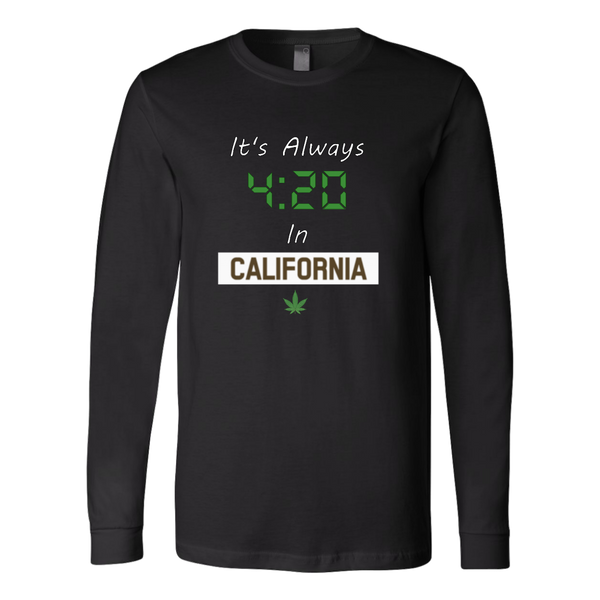 """Always 420 In California"" Slim Fit Shirt w/ Sleeves - White Print - Schwag420.com"