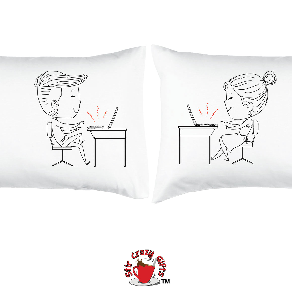 PERSONALIZED!! WORK AT HOME TOGETHER - ROMANTIC COUPLE PILLOWCASES - 2 SETS
