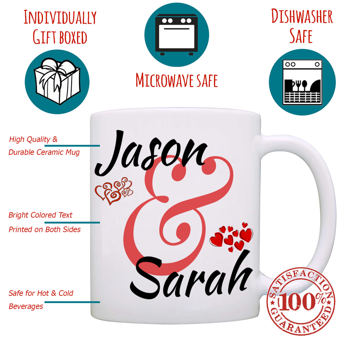 Personalized Couples Wedding Anniversary Gift Mug, I love my Husband Wife Mom Dad Romantic His and Her Coffee Cup, Printed on Both Sides!