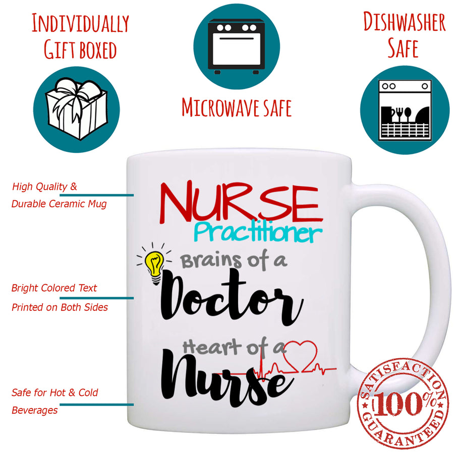 Nurse Practitioner, Brains of A Doctor, Heart of A Nurse - Nurse Gift Mug