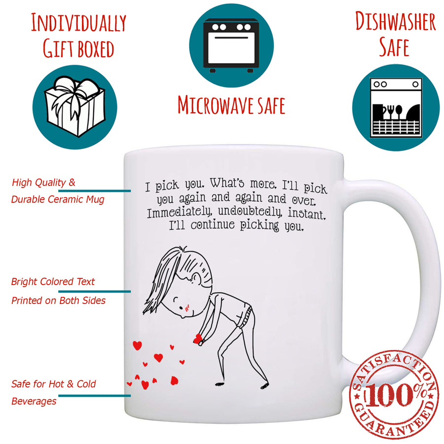 Personalized!! Picking Your Heart Couples Mug - Printed on Both Sides - 2 Sets