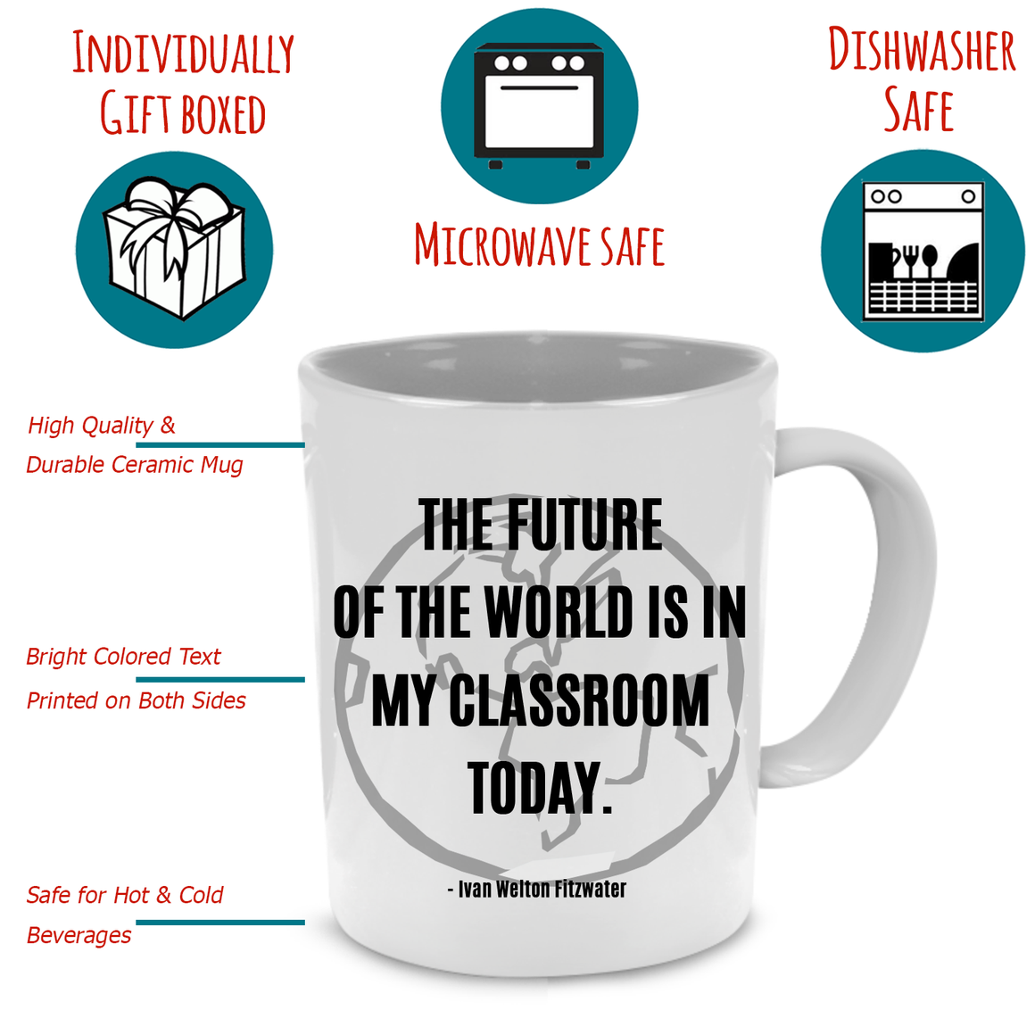 Fun, Unique Thank You Graduation Teacher Appreciation Gifts Coffee Mug for Women - Printed on Both Sides