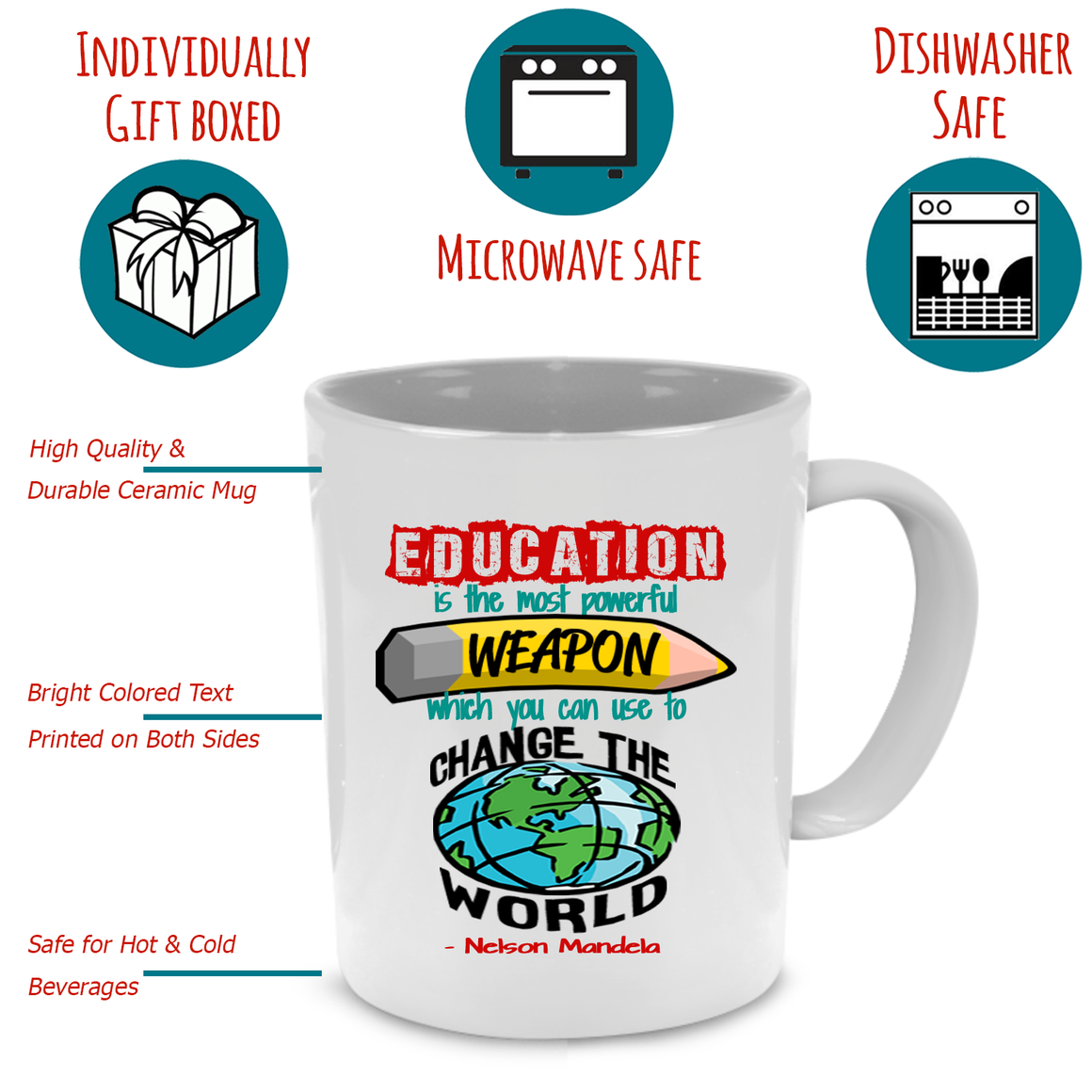 Funny Unique Thank You Teacher Coffee Mug - Cute Graduation, Appreciation or Retirement Gift - Printed on Both Sides!