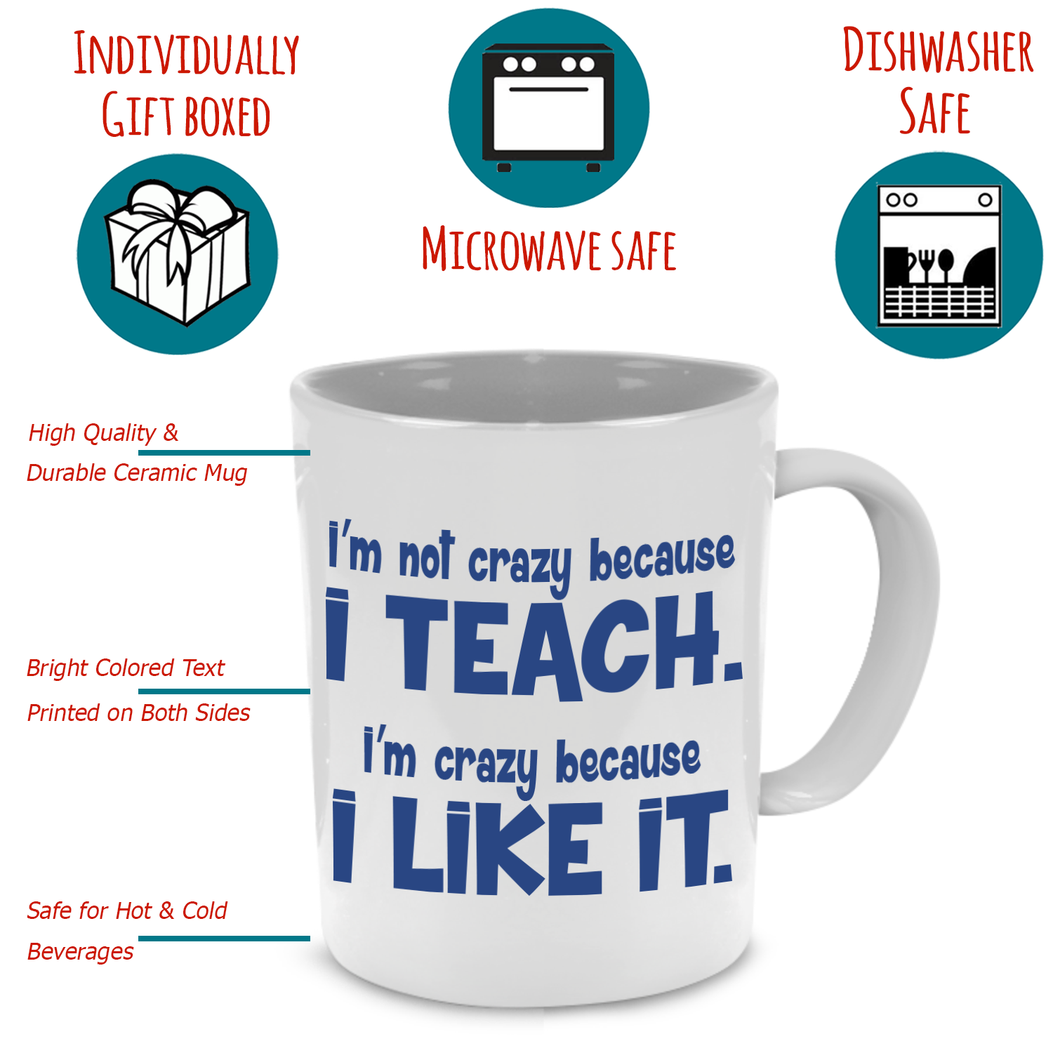 Teacher A Coffee Funny Both Unique GiftPrinted Mug Thank Cool Sides You On D2EHIW9