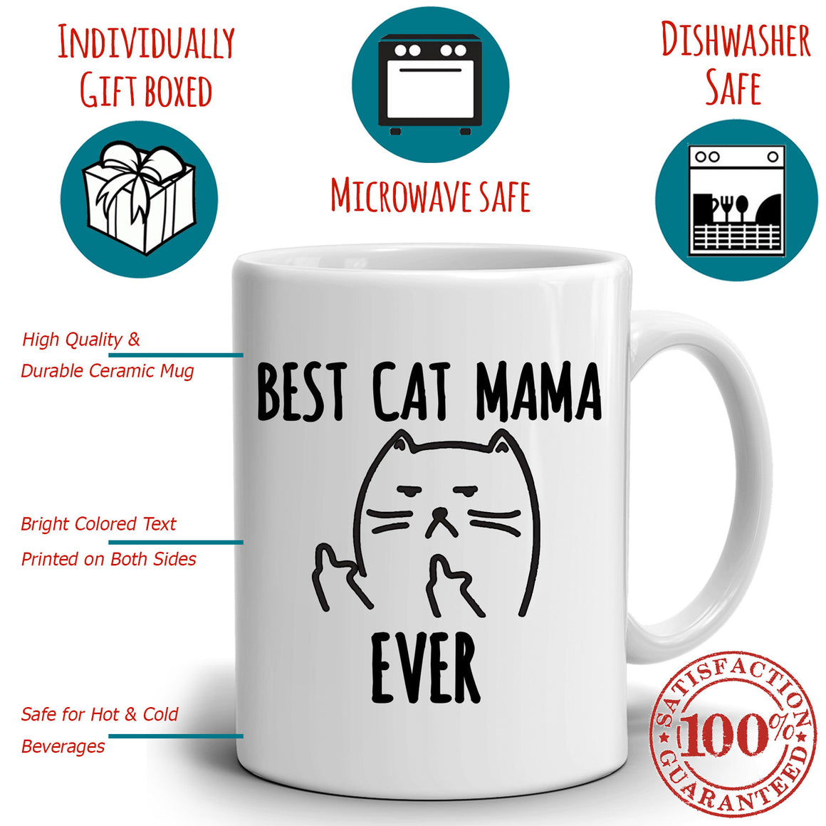 Funny Best Cat Mama Ever Coffee Mug, Unique Gifts for Mom this Mothers Day, Grandmothers Birthday and Perfect Present for Mother in Law